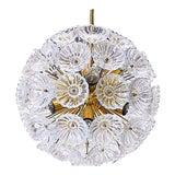 Image of 1960 Germany VEB Sputnik 'Dandelion' Chandelier Glass Flowers & Brass For Sale