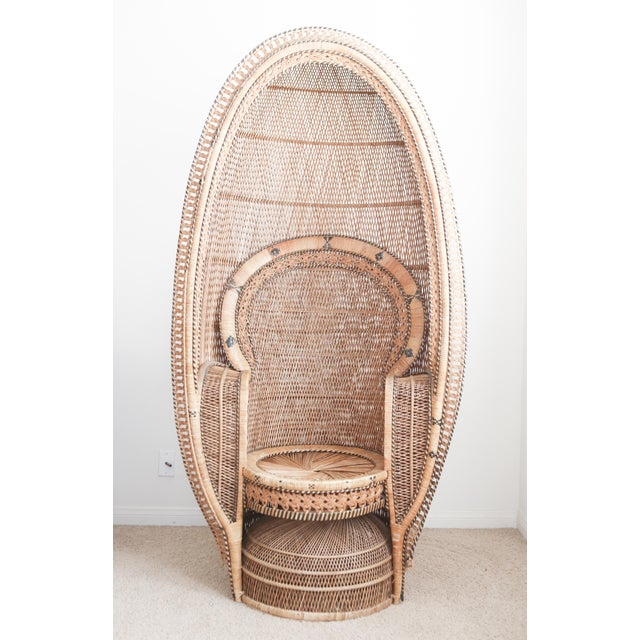 Vintage Rattan and Wicker Peacock Chair For Sale - Image 4 of 10