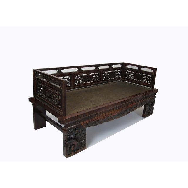 1900 - 1909 1900s Antique Chinese Daybed With Hand Carved Railing For Sale - Image 5 of 11