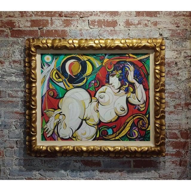 Sheldon C Schoenberg - Le Femme d'Alger - 1960s Cubist Oil Painting For Sale - Image 9 of 9