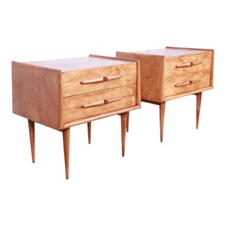 Edmond Spence Swedish Modern Birch Nightstands, Newly Restored - a Pair For Sale
