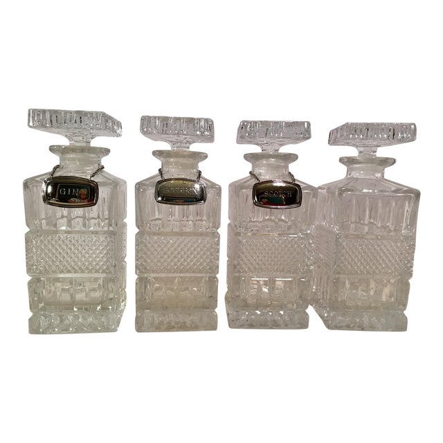 Mid-Century Modern Crystal Decanters With Hanging Tags - Set of 4 For Sale