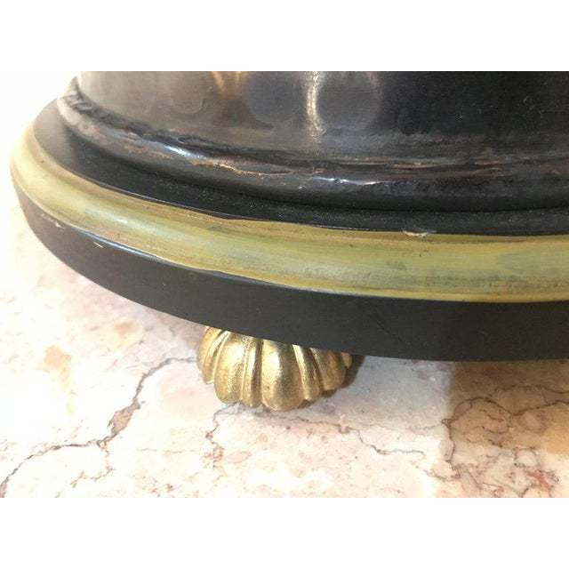 Pair of Custom Quality Vintage Brass and Metal Floral Design Urn Table Lamps For Sale - Image 9 of 13