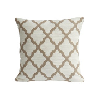 Moroccan Light Brown Quatrefoil Woven Pillow Cover For Sale