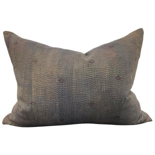 Indian Kantha Cloth Pillow For Sale
