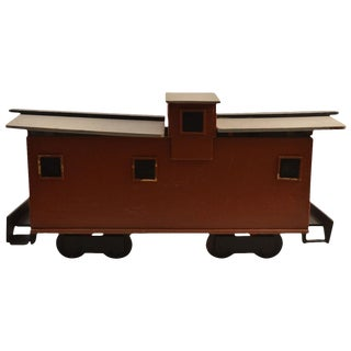 Large Folky Handmade Caboose-Form Toy Box For Sale