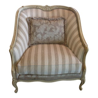 Henredon Wood Framed and Striped Upholstered Occasional Armchair