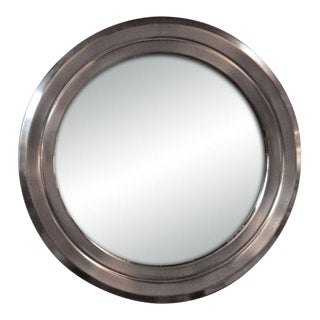 Italian 70's Stainless Sergio Mazza Mirror For Sale