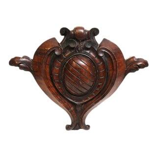 Carved Mahogany Keystone Hearts - A Pair