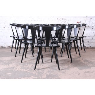Paul McCobb Planner Group T-Back Black Lacquered Solid Maple Dining Chairs, Set of Ten Preview
