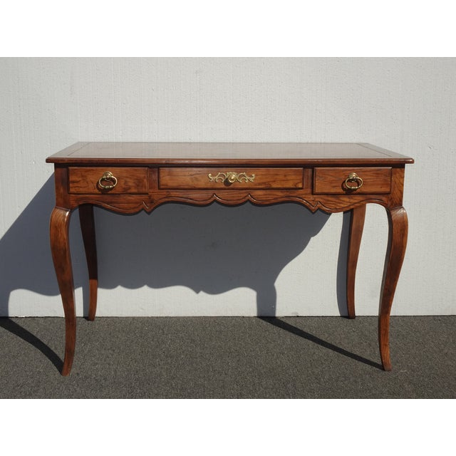 French Vintage French Country Henredon Oak Writing Desk W Three Drawers For Sale - Image 3 of 13