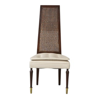 High Back Desk Chair With Double-Sided Rattan Back and Beige Faux Leather For Sale