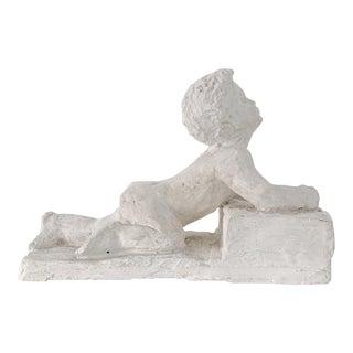 Vintage Naked Boy Laying Plaster Sculpture For Sale