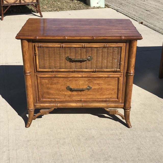 1980s Fretwork Faux Bamboo Cane Nightstand For Sale In Dallas - Image 6 of 6