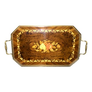 Edwardian Mahogany and Brass Serving Tray With Floral Inlay Design For Sale