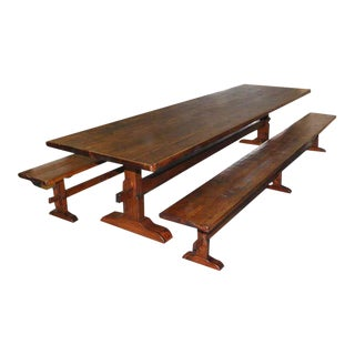 Petersen Antiques Reclaimed Pine Trestle Table/Benches - Set of 3 For Sale