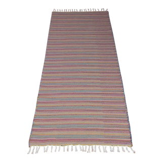 Flat Weave Wool Striped Pink Kilim Rug - 2'8'' x 7'6''