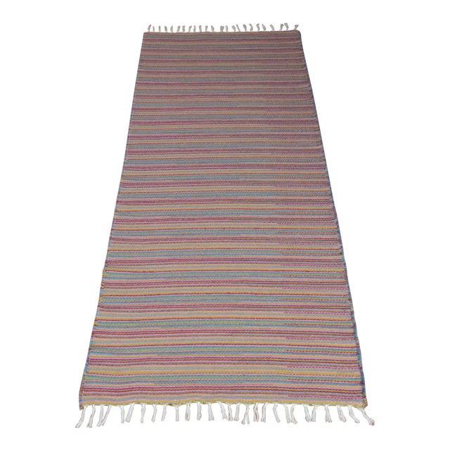 Flat Weave Wool Striped Pink Kilim Rug - 2'8'' x 7'6'' - Image 1 of 9