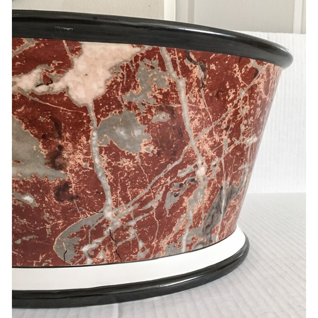 Large Italian Marbleized Ceramic Jardinere Planter - Image 4 of 9