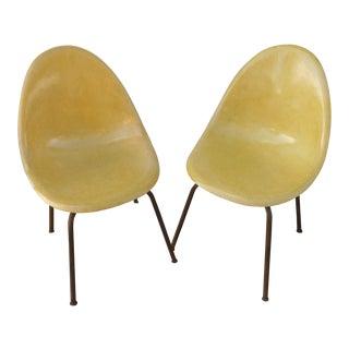 Mid-Century Modern Light Yellow Fiberglass Shell Chairs- A Pair For Sale
