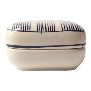 Mid-Century Modern Ceramic Lidded Dish With Blue Stripe Line Pattern For Sale