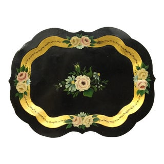 Vintage Hand Painted Traditional Tole Tray For Sale
