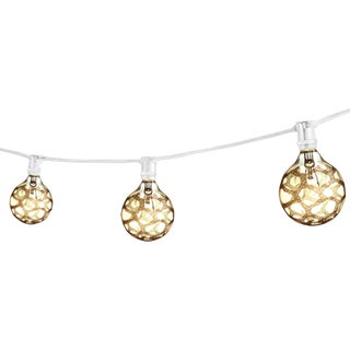25' Decorative Outdoor String Lights with Amber Marble Incandescent 25 Watt Bulbs in White For Sale