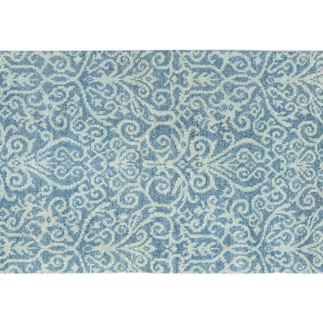"Kafkaz Peshawar Cyrena Lt. Blue/Lt. Green Wool Runner - 2'5"" X 9'9"" For Sale - Image 4 of 8"