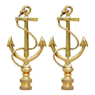 Large Brass Anchor Lamp Finials, a Pair For Sale