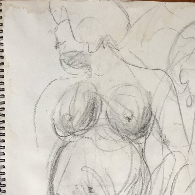 Pregnant Nude in Motion Drawing For Sale - Image 4 of 4