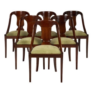 Set of Six Gondola Empire Style Chairs For Sale
