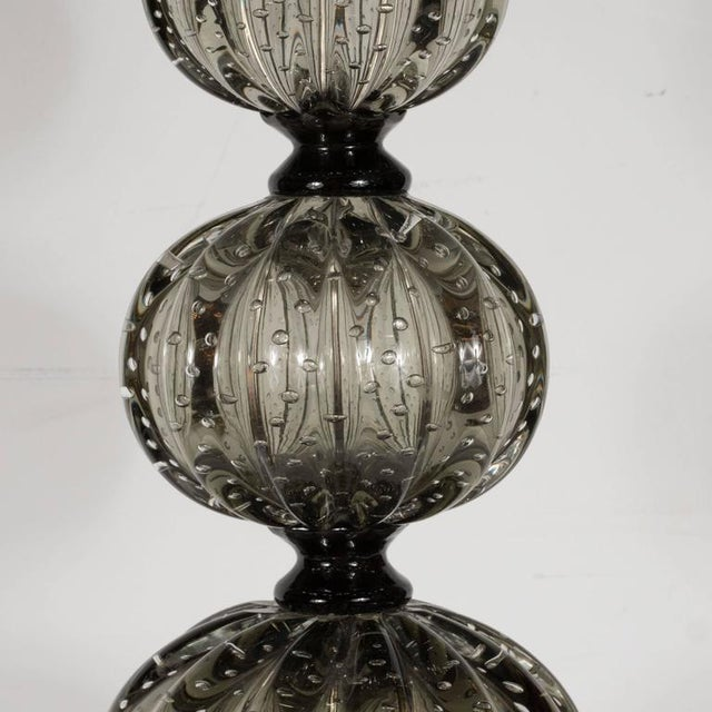 Elegant Pair of Handblown Smoked Pewter Murano Glass Table Lamps For Sale - Image 4 of 7