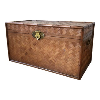 Vintage Rattan and Faux Bamboo Trunk For Sale