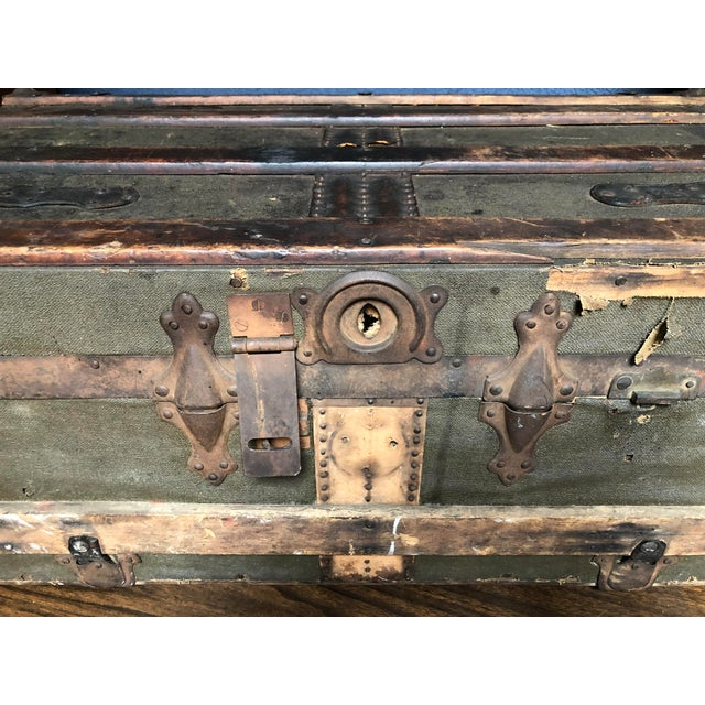 Boho Chic Vintage P & S Co. Wood Leather and Metal Trunk For Sale - Image 3 of 11