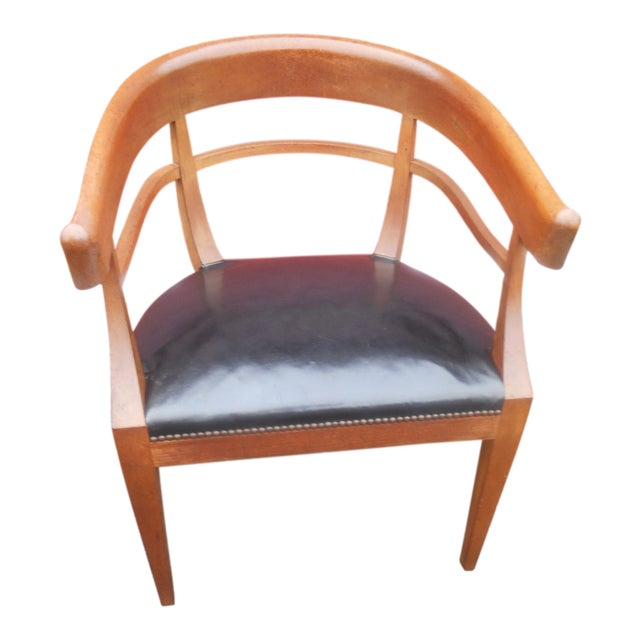 Mid-Century Baker Furniture Studded Leather Asian Side Chair For Sale