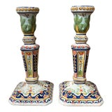 Image of Pair of Early 20th Century French Painted Faience Candlesticks From Normandy For Sale