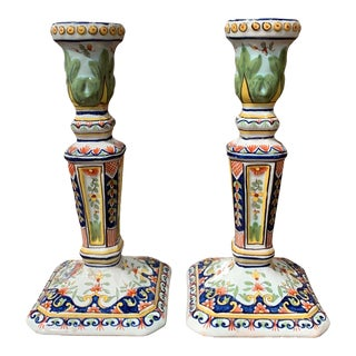 Pair of Early 20th Century French Painted Faience Candlesticks From Normandy For Sale