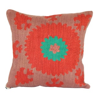 "Vintage Red Suzani Pillow 16""x16"" For Sale"