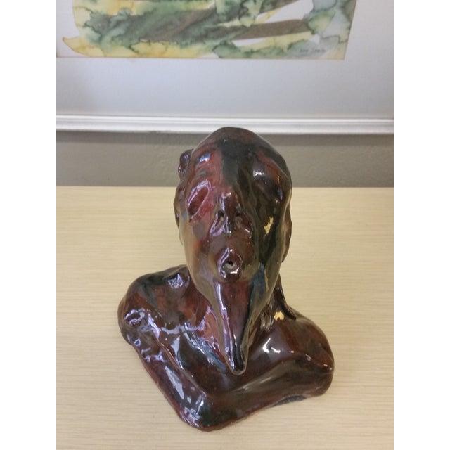 Modernist Ceramic Male Bust Sculpture - Image 5 of 9