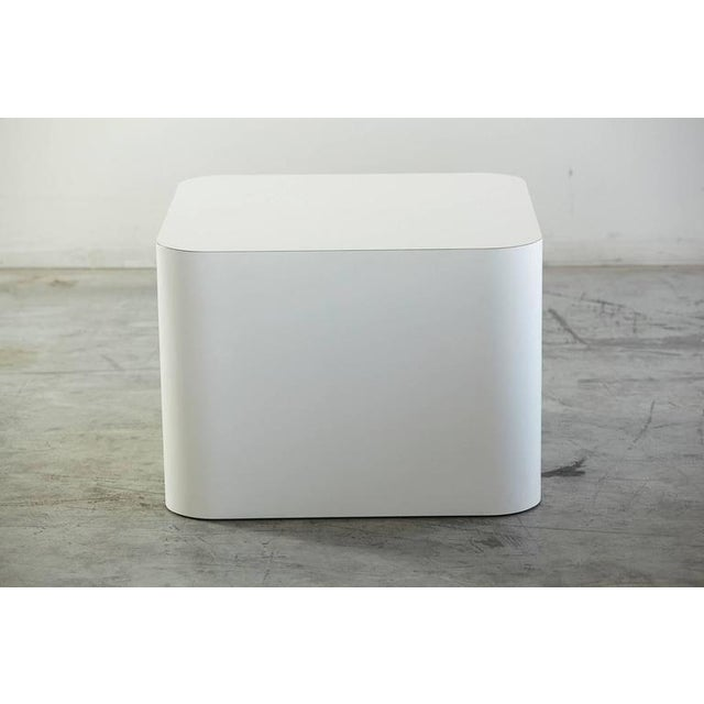 Custom Made White Laminate Cubic End Table or Pedestal, Large For Sale - Image 4 of 8