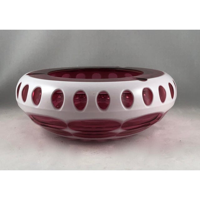 Art Deco Bohemian Ashtray in Cranberry and Opaque White Hand Cut Glass For Sale - Image 11 of 11