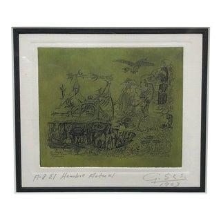 "1960s Surrealist Engraving ""Hombre Actual"" by Guillermo Silva Santamaria For Sale"