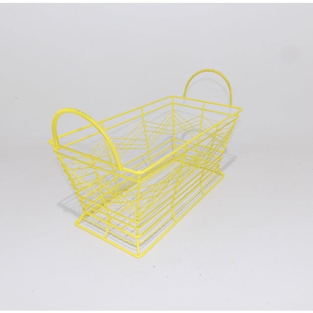 Yellow Contemporary Electric Yellow Bathroom Metal Wire Toiletries Catchall For Sale - Image 8 of 8
