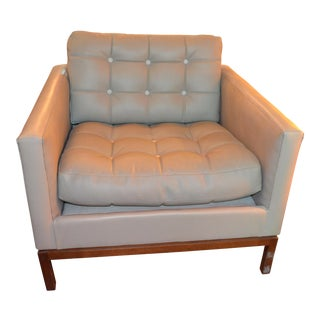 Mid Century Modern Florence Knoll Club Lounge Chair Newly Upholstered in Leather For Sale