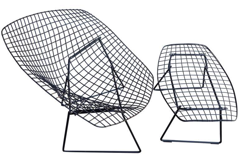 Mid Century Harry Bertoia Diamond Chair And Ottoman For Knoll   Image 7 Of 9