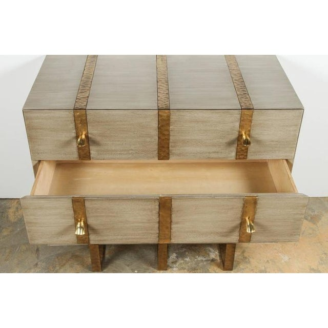 Paul Marra Paul Marra Three-Drawer Banded Chest in Bleached Oak and Inset Iron Band For Sale - Image 4 of 7