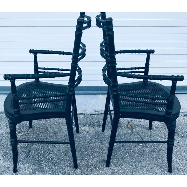 Black Vintage Baker Furniture Faux Bamboo Chairs - a Pair For Sale - Image 8 of 11