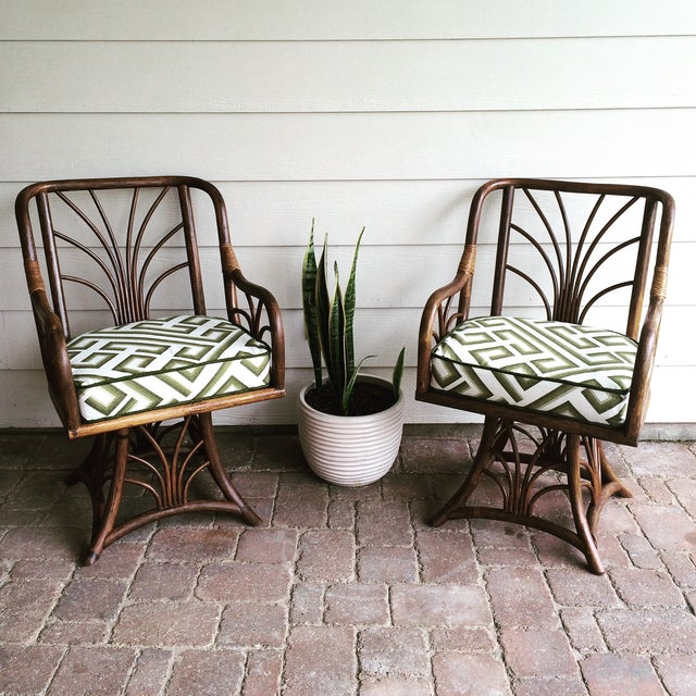 Rattan Swivel Chairs - A Pair - Image 2 of 6