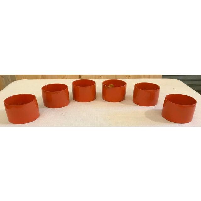 Mid-Century Modern Mid-Century Modern Orange Napkin Rings - Set of 6 For Sale - Image 3 of 9