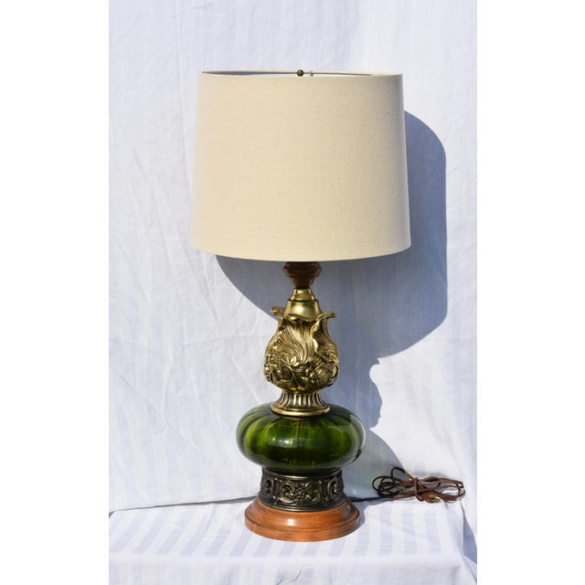Hollywood Regency Mode Green Murano Glass Lamp For Sale - Image 10 of 10